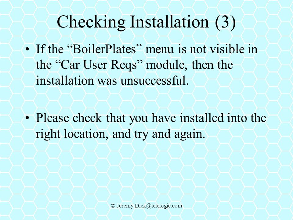 Checking Installation (3)