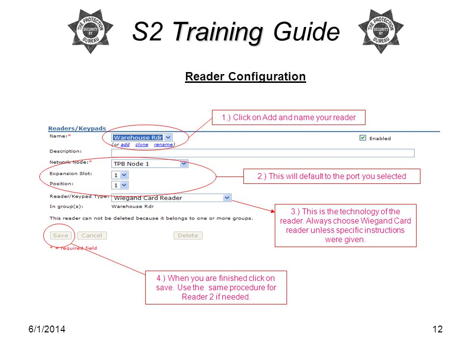 S2 Training Guide Reader Configuration 3/31/2017