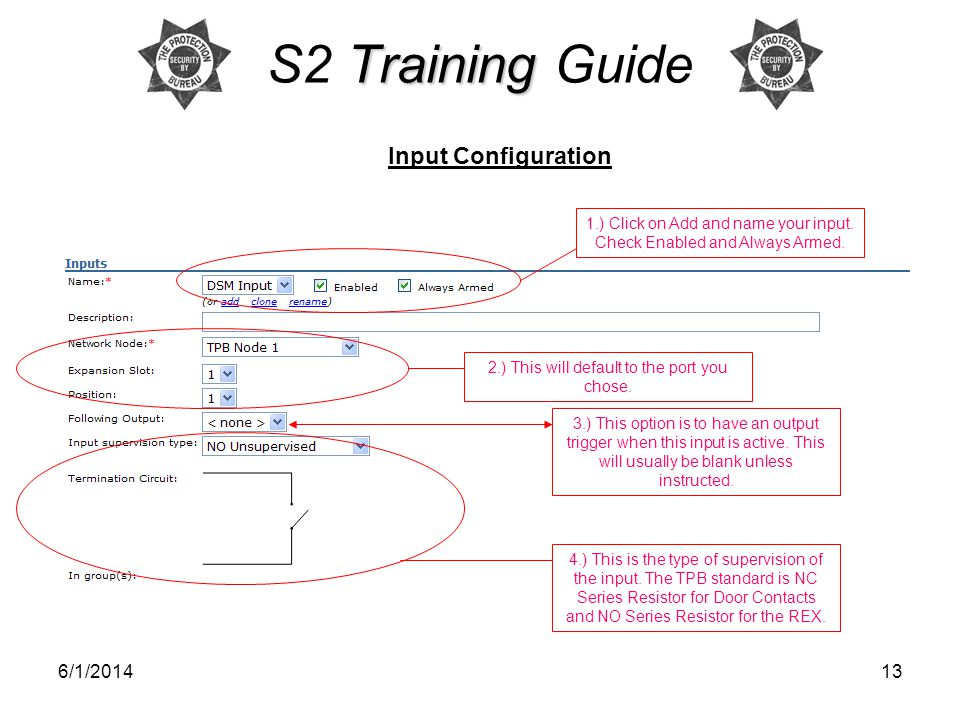 S2 Training Guide Input Configuration 3/31/2017