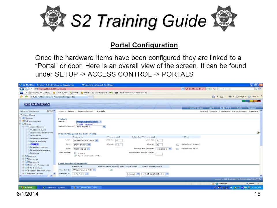 S2 Training Guide Portal Configuration