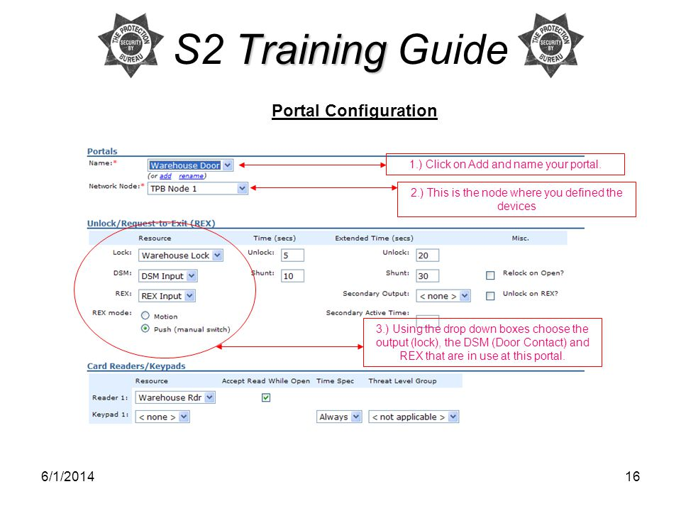 S2 Training Guide Portal Configuration 3/31/2017