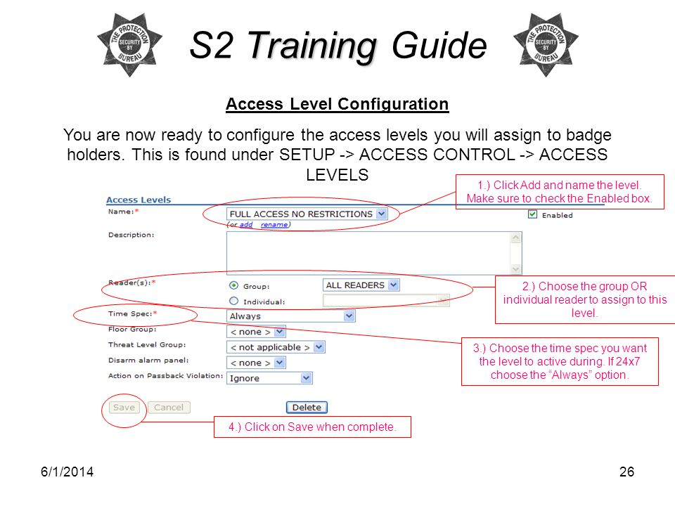 Access Level Configuration