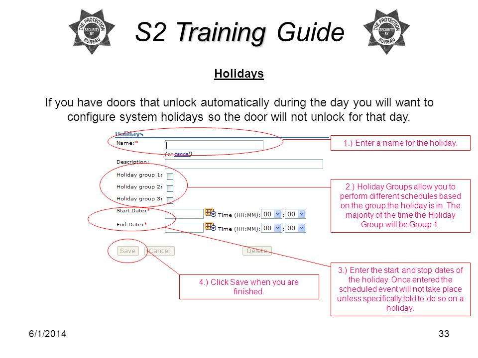 S2 Training Guide Holidays
