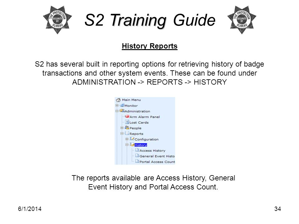 S2 Training Guide History Reports