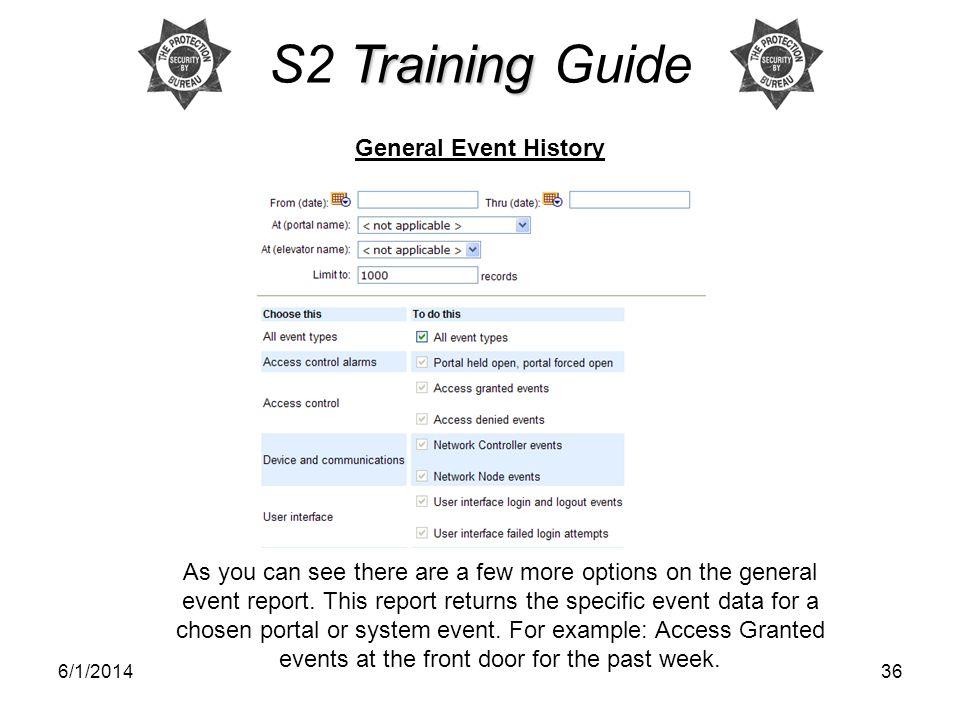S2 Training Guide General Event History