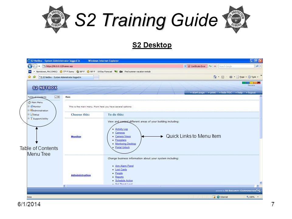 S2 Training Guide S2 Desktop 3/31/2017 Quick Links to Menu Item