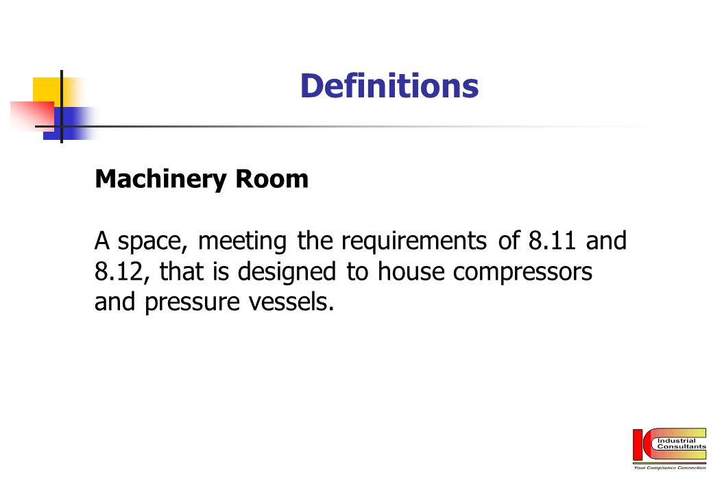 Definitions Machinery Room