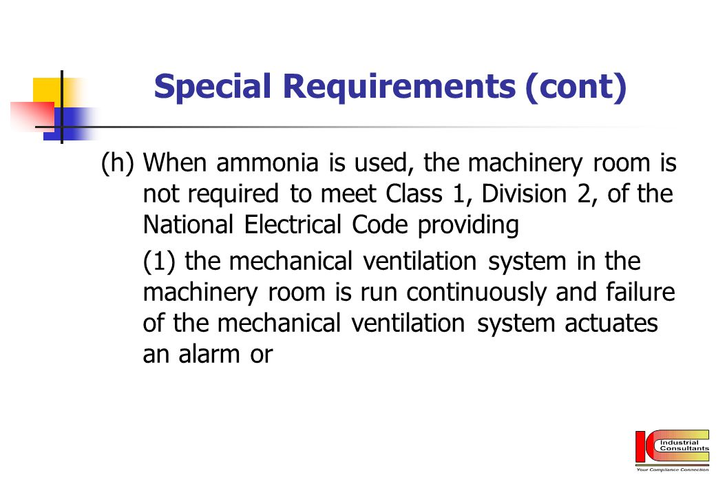 Special Requirements (cont)