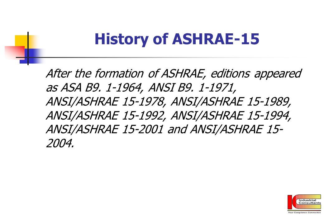 History of ASHRAE-15