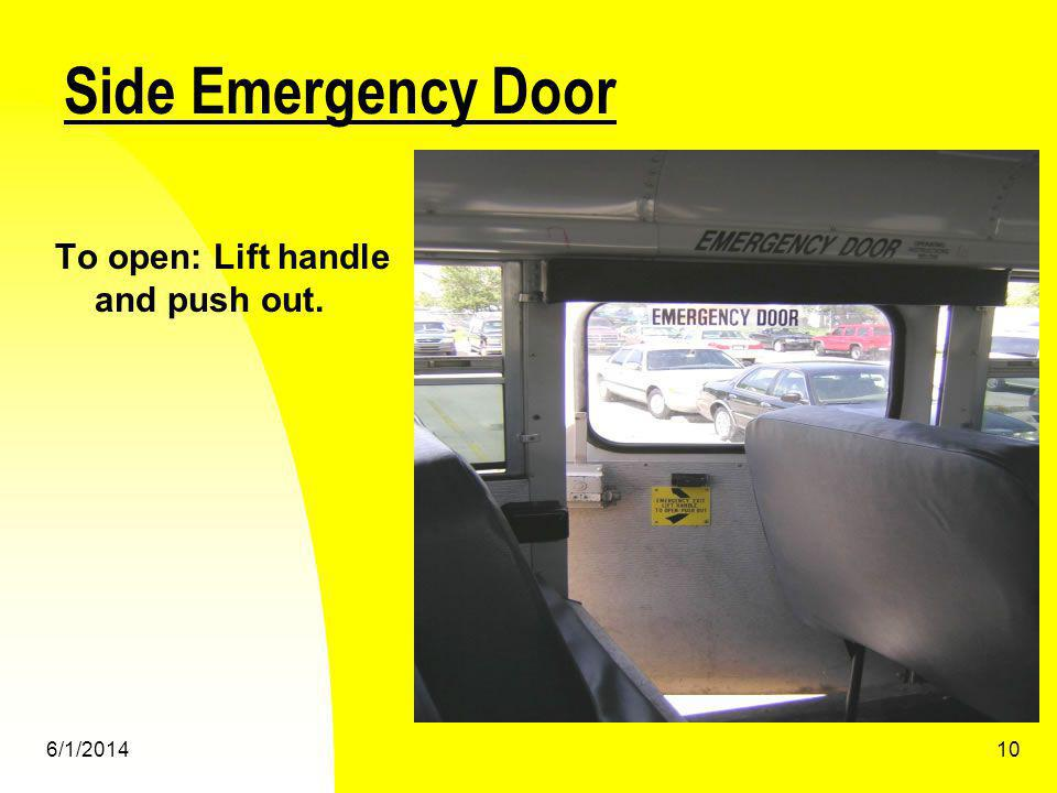 Side Emergency Door To open: Lift handle and push out. 3/31/2017