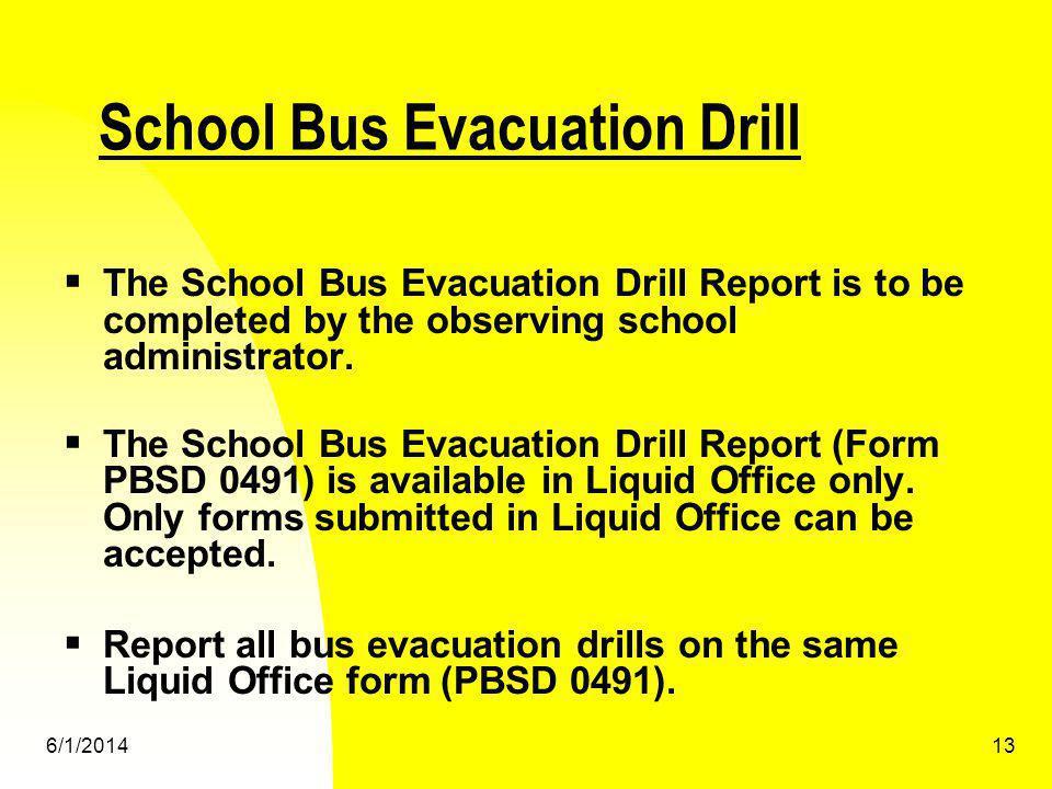 School Bus Evacuation Drill