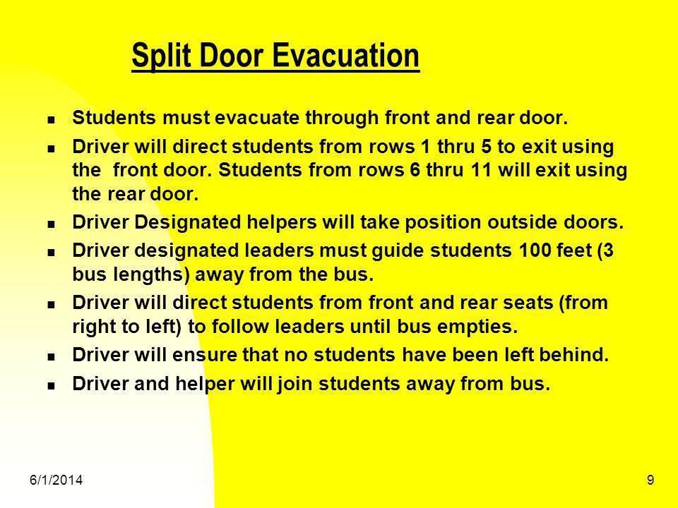 Split Door Evacuation Students must evacuate through front and rear door.