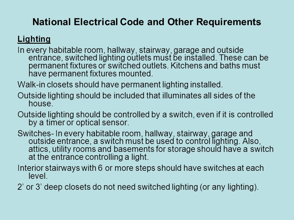 National Electrical Code and Other Requirements