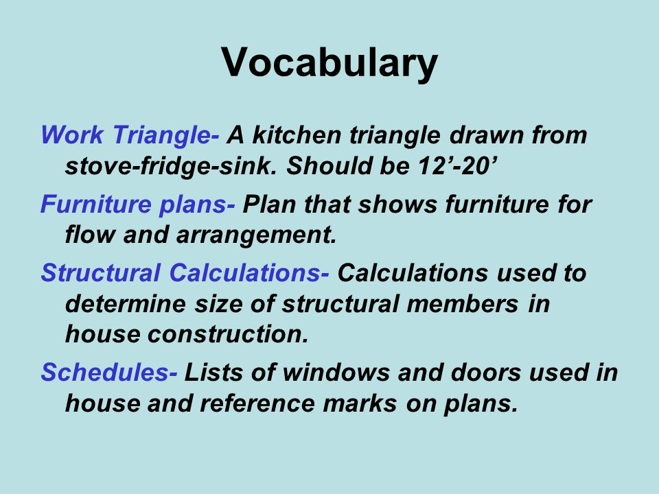 Vocabulary Work Triangle- A kitchen triangle drawn from stove-fridge-sink. Should be 12'-20'