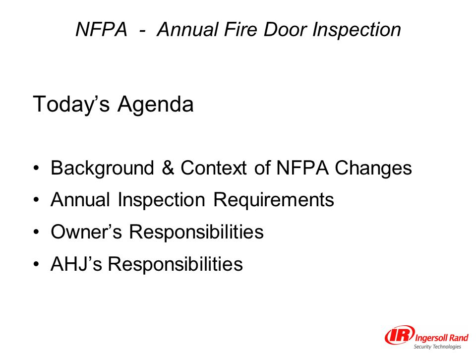 NFPA - Annual Fire Door Inspection