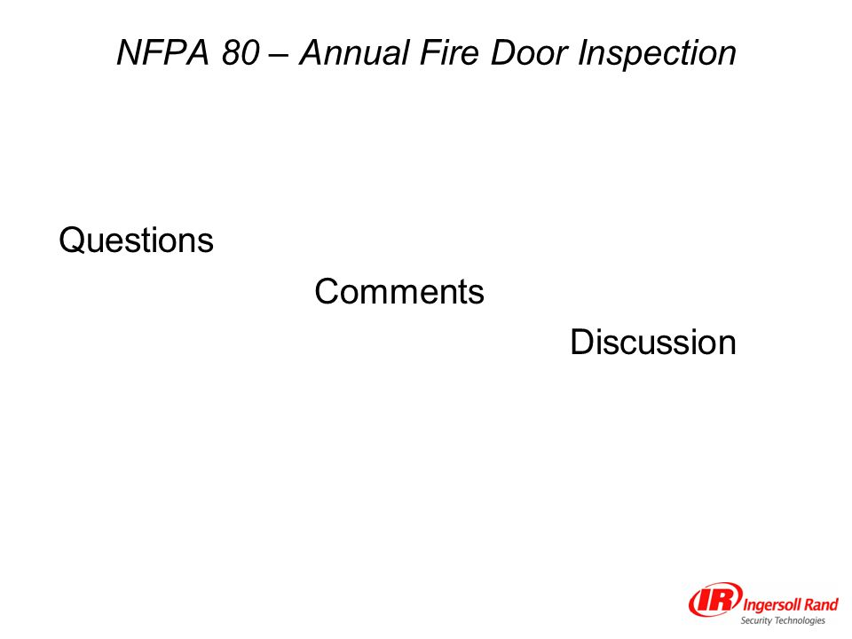 NFPA 80 – Annual Fire Door Inspection