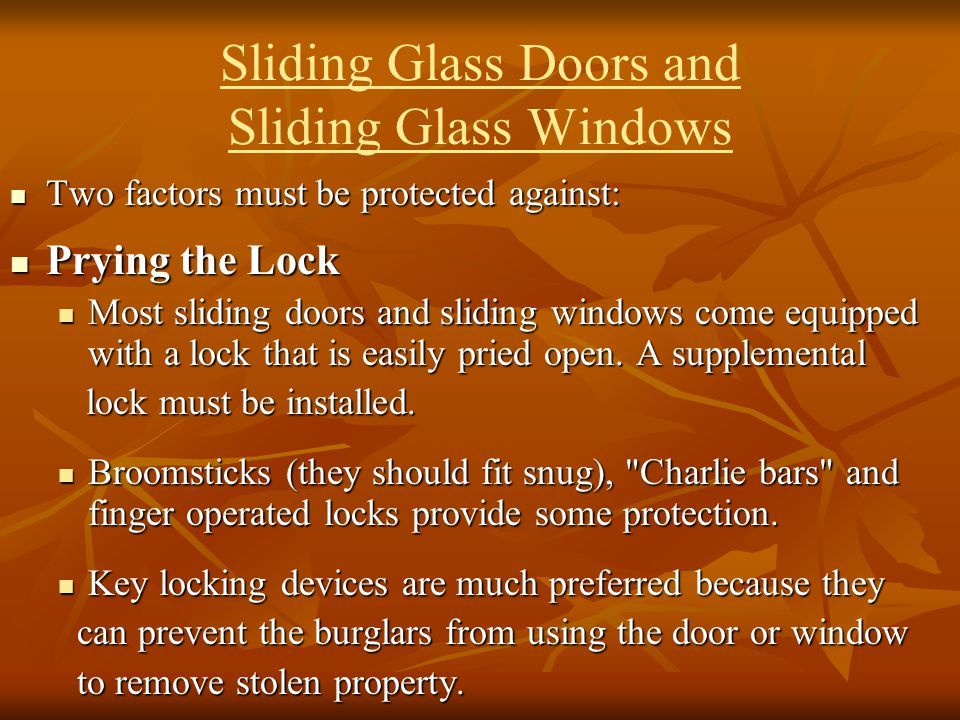 Sliding Glass Doors and Sliding Glass Windows