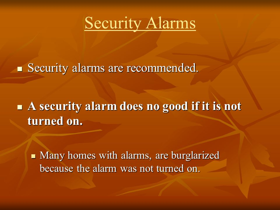 Security Alarms Security alarms are recommended.