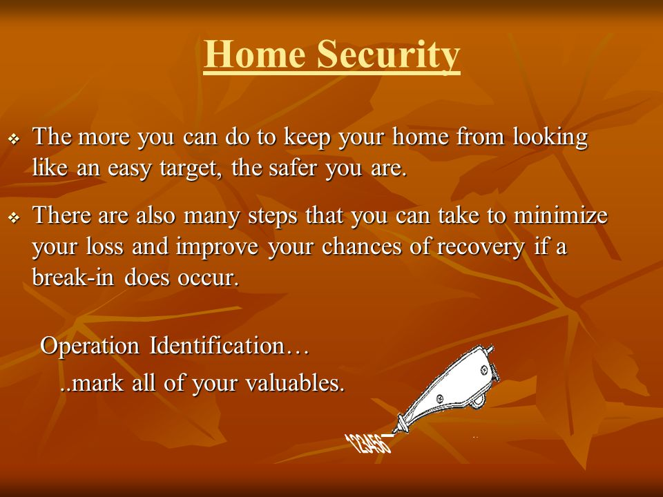 Home Security The more you can do to keep your home from looking like an easy target, the safer you are.