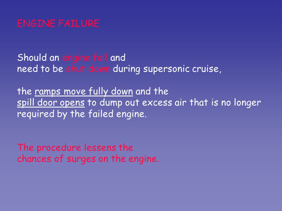 ENGINE FAILURE Should an engine fail and. need to be shut down during supersonic cruise, the ramps move fully down and the.
