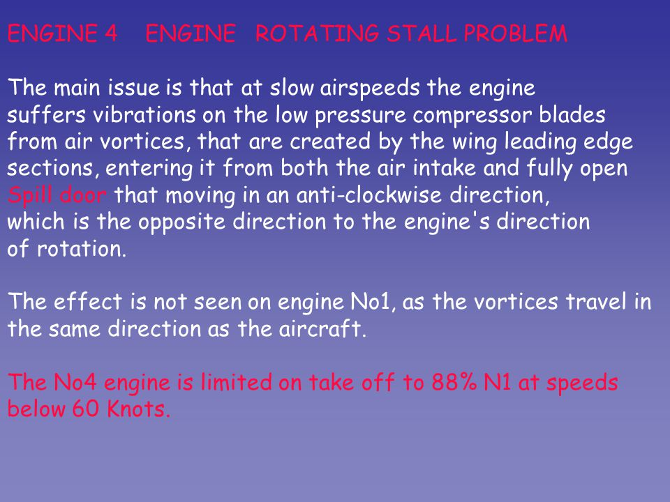 ENGINE 4 ENGINE ROTATING STALL PROBLEM