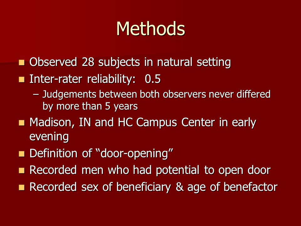 Methods Observed 28 subjects in natural setting