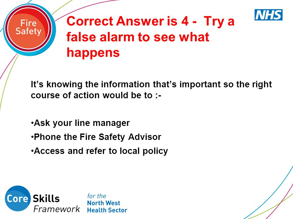 Correct Answer is 4 - Try a false alarm to see what happens