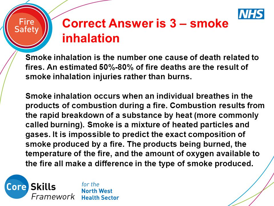 Correct Answer is 3 – smoke inhalation