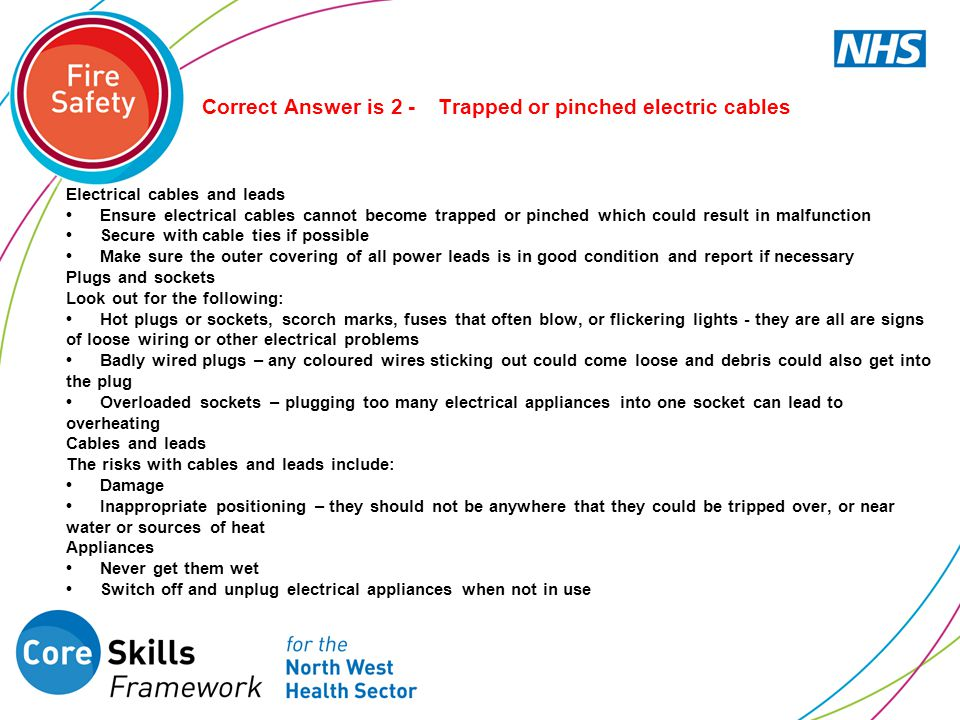 Correct Answer is 2 - Trapped or pinched electric cables