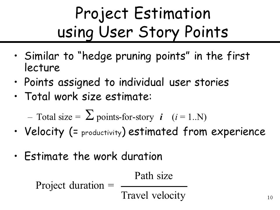Project Estimation using User Story Points