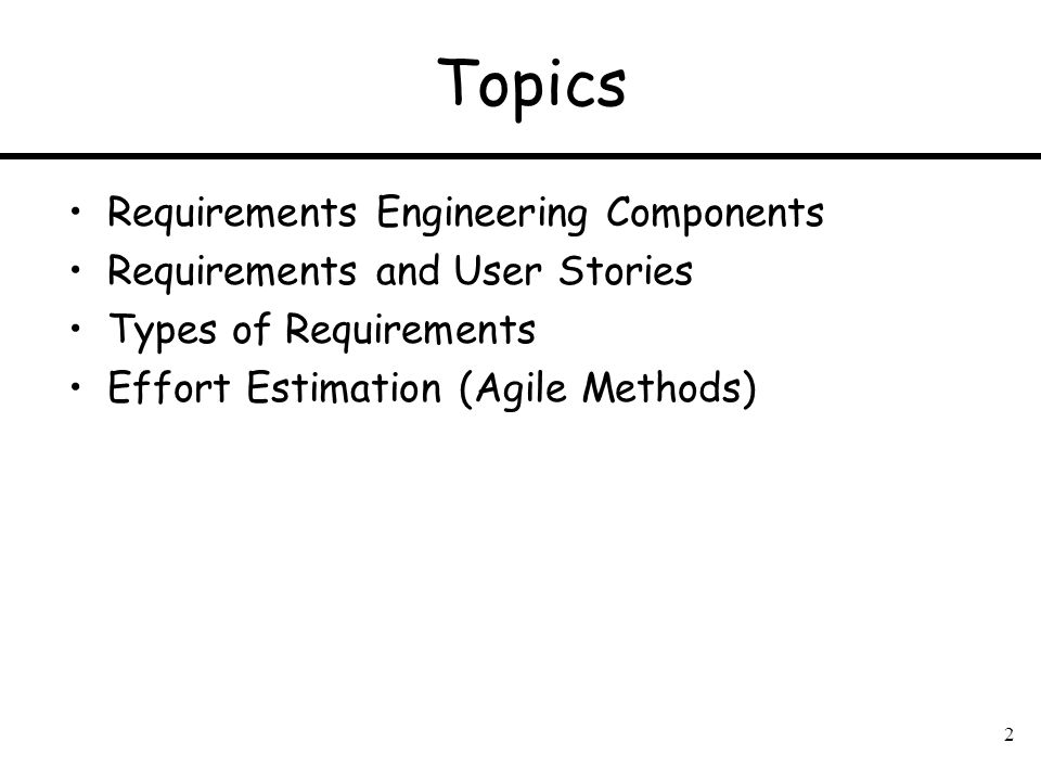 Topics Requirements Engineering Components