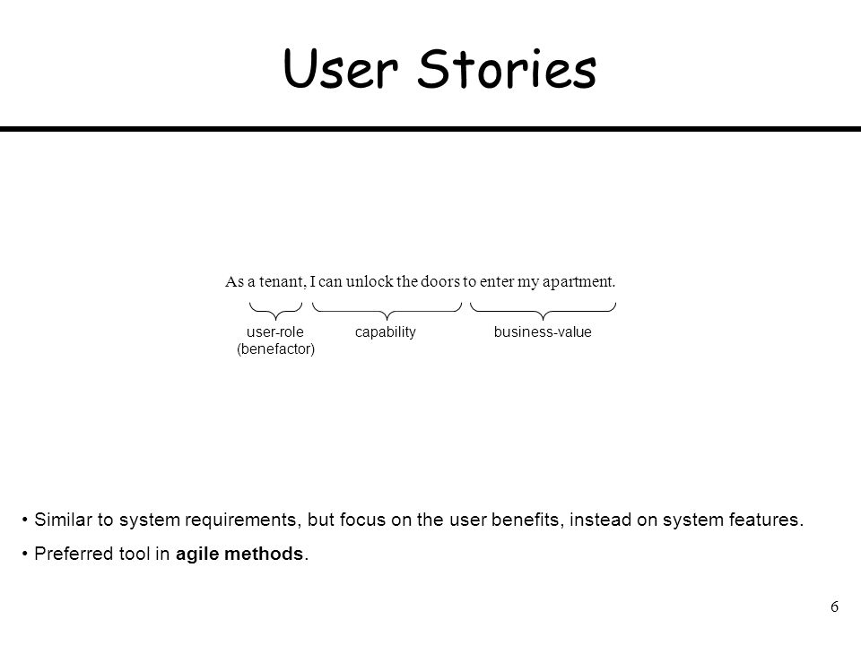 User Stories As a tenant, I can unlock the doors to enter my apartment. user-role. (benefactor) capability.
