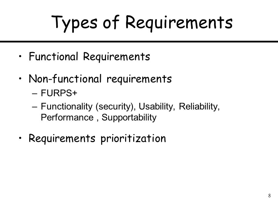 Types of Requirements Functional Requirements