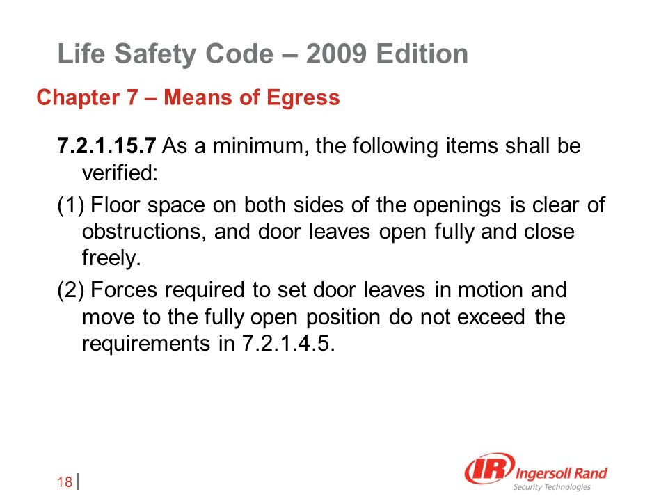 Life Safety Code – 2009 Edition