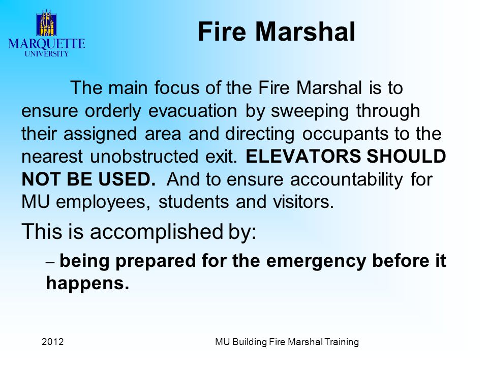 MU Building Fire Marshal Training