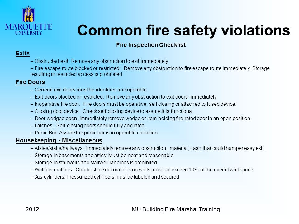 Common fire safety violations