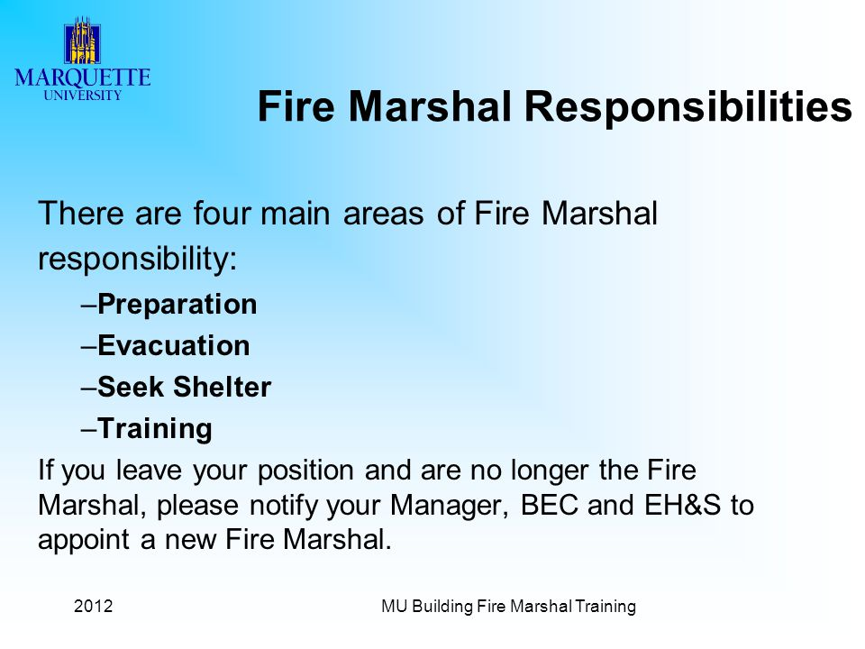 Fire Marshal Responsibilities