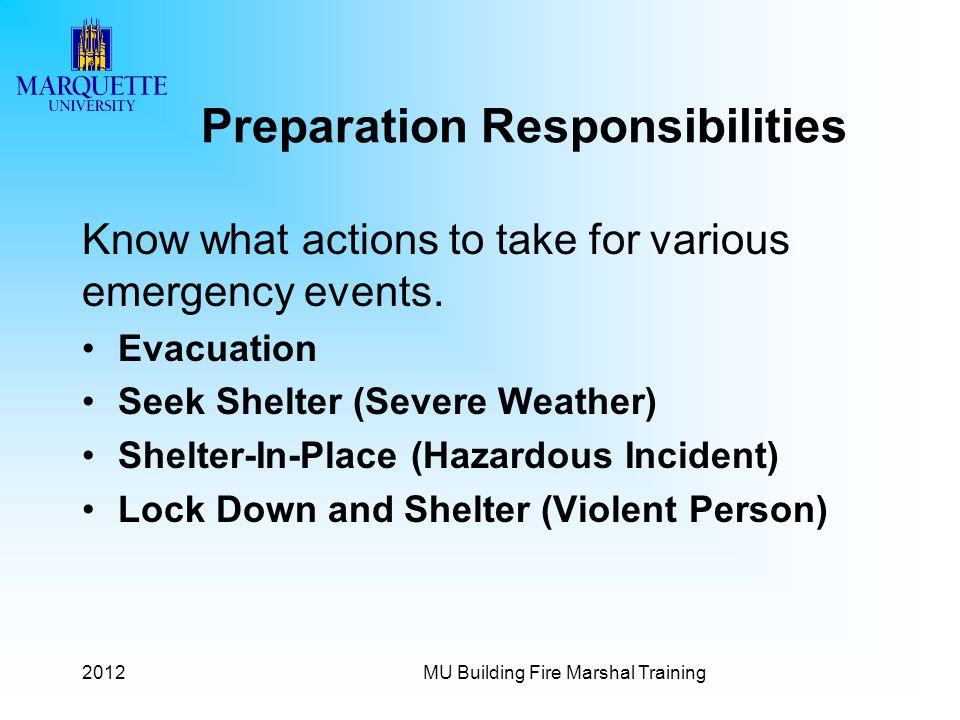 Preparation Responsibilities