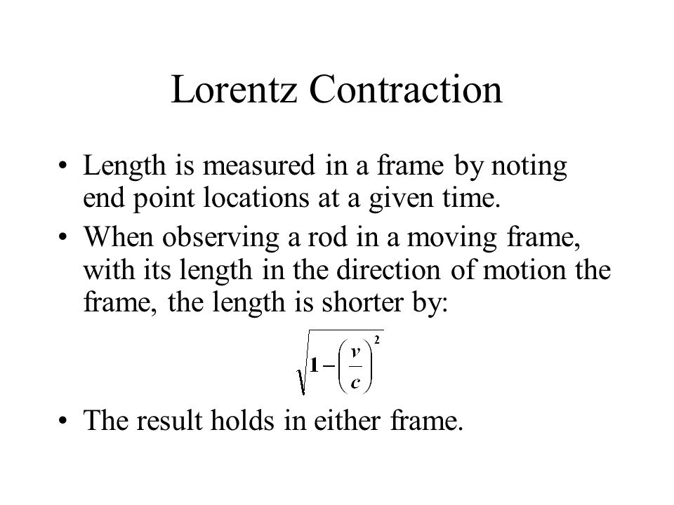 Lorentz Contraction Length is measured in a frame by noting end point locations at a given time.