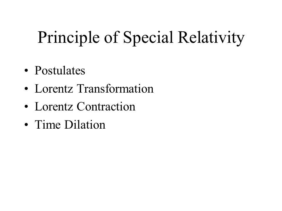 Principle of Special Relativity