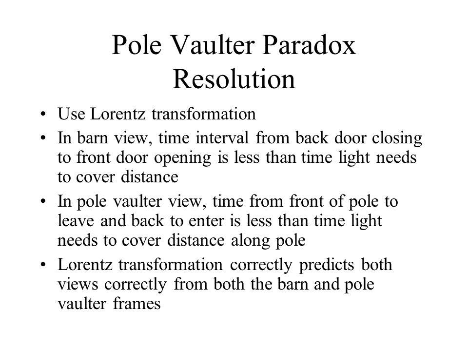 Pole Vaulter Paradox Resolution