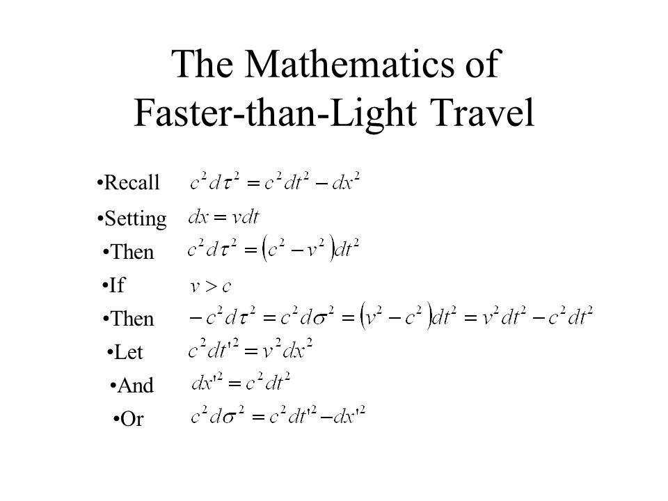 The Mathematics of Faster-than-Light Travel