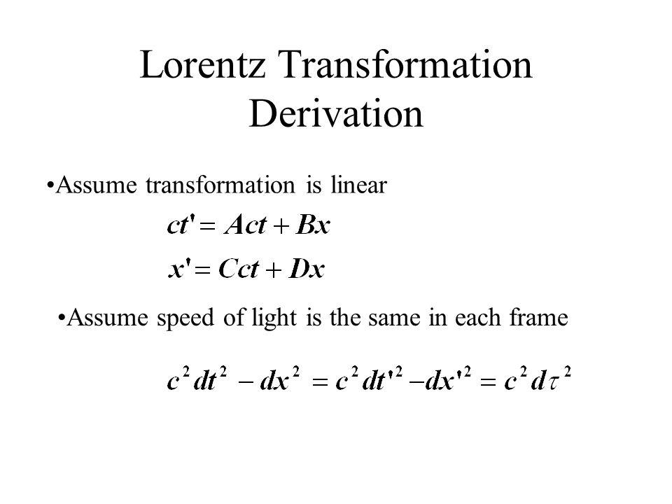Lorentz Transformation Derivation