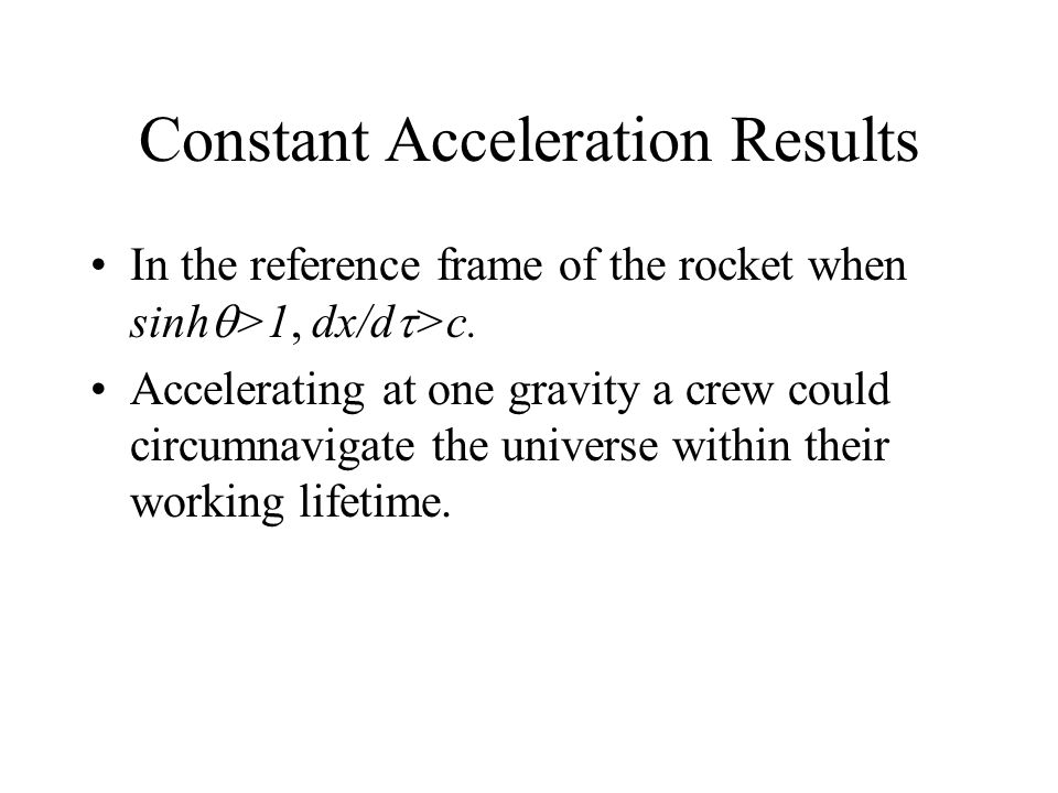 Constant Acceleration Results