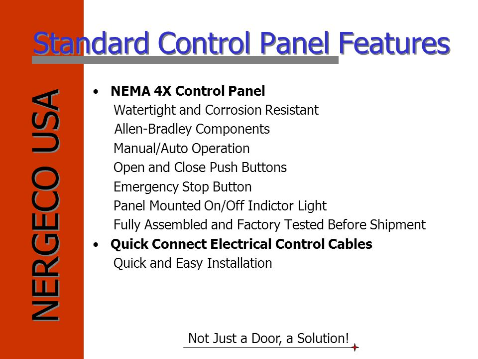 Standard Control Panel Features