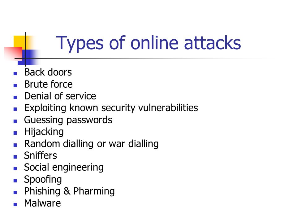 Types of online attacks