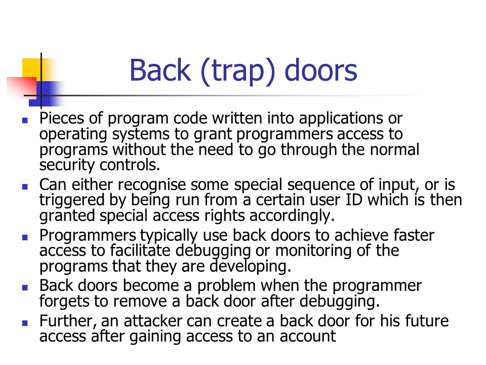 Back (trap) doors
