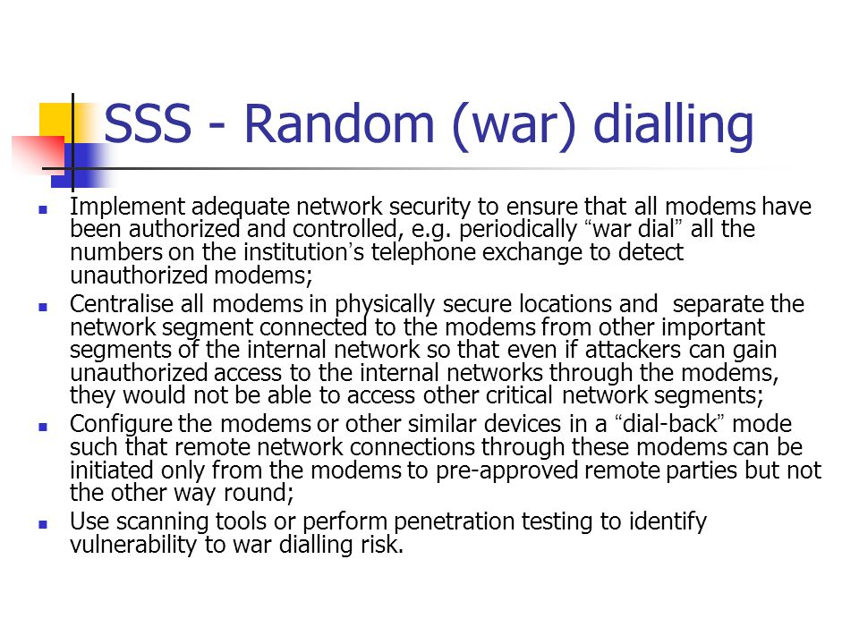 SSS - Random (war) dialling