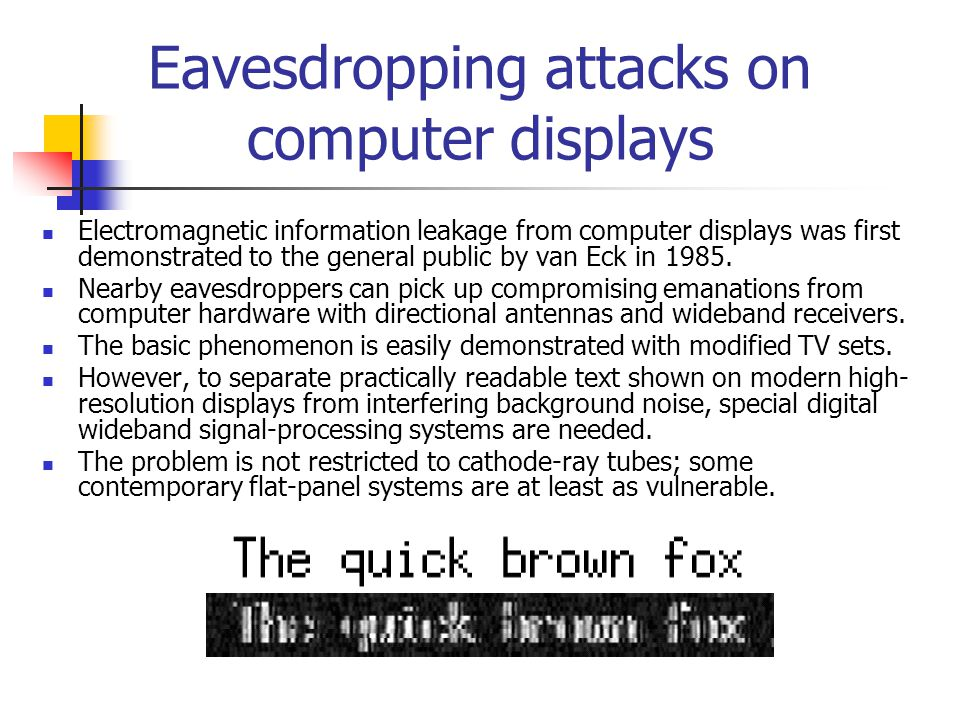 Eavesdropping attacks on computer displays