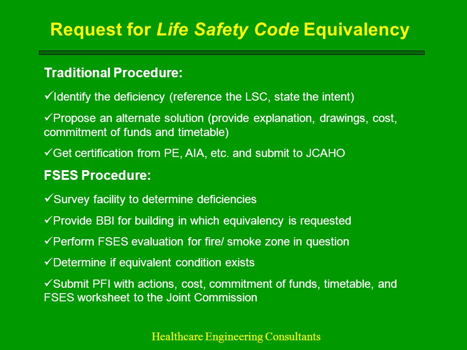 Request for Life Safety Code Equivalency